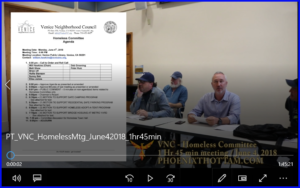 Click here for 1 hr 45 min video recording of VNC Homeless Committee Meeting (June 4, 2018)